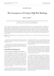academic paper the consequences of living in high rise buildings