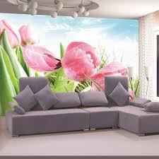 room elegant wallpaper bedroom: elegant pink tulip photo wallpaper d flower wall mural custom natural scenery wallpaper design your wall wallpaper kids room decor bedroom natural