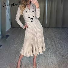Simplee Vintage pleated belt plaid dress <b>women Elegant office</b> ...
