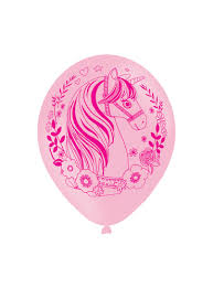 Set of 6 <b>pink</b> latex <b>gold unicorn balloons</b> for parties and birthdays ...
