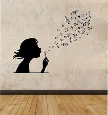 wall decal family art bedroom decor girl blowing music notes vinyl wall decal sticker art decor bedroom design mural interior design family