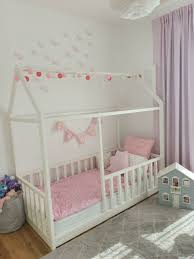Wooden Montessori Classic House <b>Bed Frame with</b> Rails