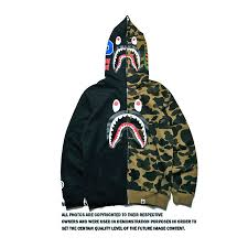 <b>BAPE</b> Men Clothing Hoodies Sweatshirts <b>SHARK Printing</b> WG ...