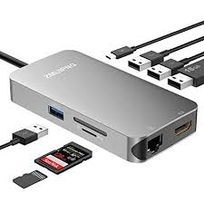 <b>USB C Hub</b>, <b>9</b> in 1 Type C Hub Adapter with 4K USB C to HDMI