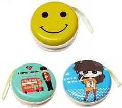 Yoana <b>Cute 3 Pcs</b> Tin Case Zip Pouch for Earphones Coin Purse Multi