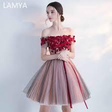 <b>LAMYA Embroidery</b> Prom Dresses Short Front Back Long Tail ...