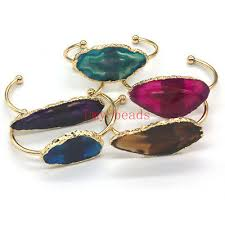 Natural Colorful Random Agate Slices Crystal Stone Gold <b>Plated</b> ...