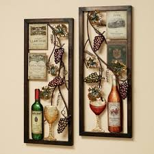 dining room wall decorating ideas:  fascinating wine cellar wall decor with cool wines grapes and goblet glass in rectangle bronze framed