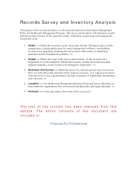 records survey and inventory analysis the purpose of the records records survey and inventory analysis the purpose of the records inventory is to develop and maintain an information management policy for the re