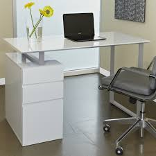 elegant simple white modern computer desk with storage and beautiful yellow flowers also grey office attractive modern office desk design