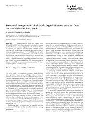 Structural manipulation of <b>ultrathin</b> organic films on metal <b>surfaces</b>