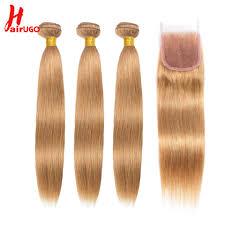 <b>HairUGo Peruvian</b> Straight <b>Hair Bundles</b> With Closure 1B/27 Ombre ...