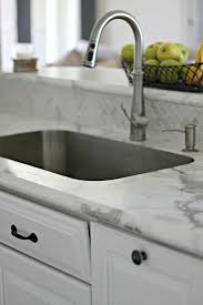calacatta marble kitchen waterfall: karran undermount sink can be used with formica countertops new quotideal edgequot formica countertops in calcutta marble love the real marble backsplash more