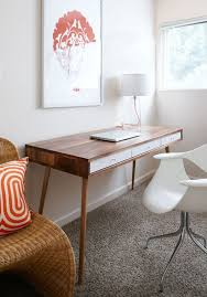 incredible modern office table product catalog china. Amazing 36 Elegant MidCentury Desks To Get Inspired Mid Century With White Wall And Wooden Desk Chair Orange Incredible Modern Office Table Product Catalog China
