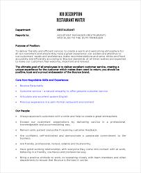 waiter restaurant job description waiter job description