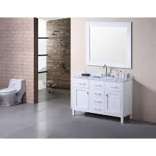 element contemporary bathroom vanity set: design element london  in w x  in d vanity in pearl white with marble vanity top and mirror in carrera white decc  the home depot