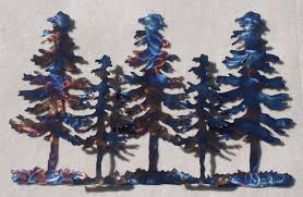 tree scene metal wall art:  wall art ideas design five layered pine tree metal blue forest home decorations white background colorfull