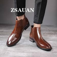 ZSAUAN British <b>Business</b> Style <b>Men</b> Ankle Boots Chelsea <b>Men</b> ...