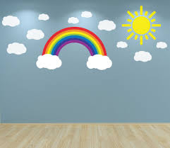 rainbow clouds and sun wall art decal sticker nursery bedroom