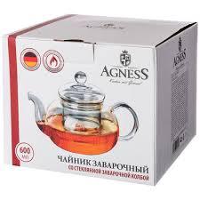 <b>чайник заварочный agness</b> со стеклянным фильтром 600 мл (кор ...