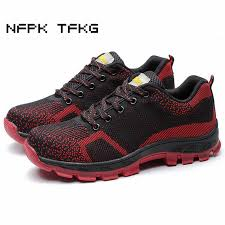 men fashion large size breathable <b>mesh steel toe</b> caps work safety ...