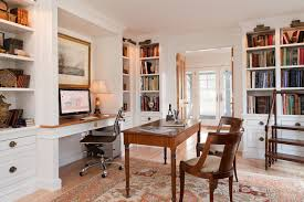 rolling laptop desk home office traditional with alcove built in bookshelves built in desk cove lighting crown molding alcove office