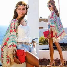 Women Ladies <b>Summer New</b> Boho Hippie Tassels Shawl Top Floral ...