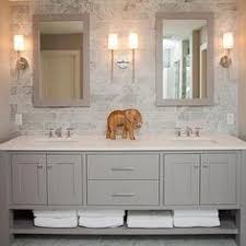 bathroom features gray shaker vanity: gorgeous white amp gray bathroom design with gray glass subway tiles backsplash white double bathroom vanity with marble countertop stainless steel inset