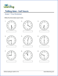 1st Grade Telling Time - Worksheets - free & printable | K5 LearningTelling Time Grade 1 Telling Time worksheet