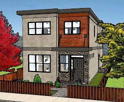 Plan MG  Stylish Duplex   Condos  House plans and Back ToModern Style House Plan   Beds Baths Sq Ft Plan Front Elevation