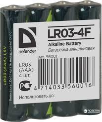 ROZETKA | <b>Батарейки Defender</b> Alkaline LR03-4F <b>AAA</b> 4 шт ...