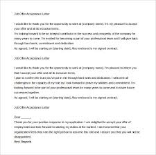 acceptance letter templates – free sample  example format    offer letter acceptance mail format example download
