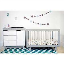 babyletto hudson 2 piece 3 in 1 convertible crib set in greywhite babyletto furniture