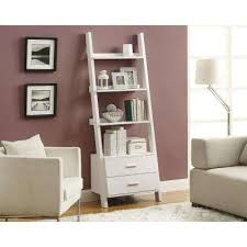 4 shelf and 2 drawer white bookcase bookcases for home office