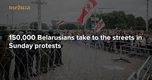 Day 15 150,000 Belarusians take to the <b>streets</b> in Sunday protests ...