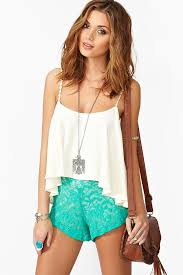 Turquoise Lace Shorts / White <b>Chiffon</b> Blouse | <b>Fashion</b>, Lace shorts ...