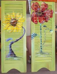 shutter pair funky sunflower and poppy carolyn funky furniture