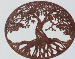 tree scene metal wall art: tree of life scene large metal wall art country rustic home decor tree life large