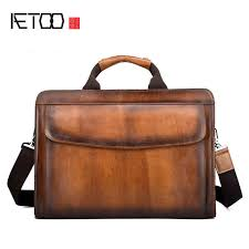 <b>AETOO New leather</b> retro men's portable briefcase first layer <b>leather</b> ...
