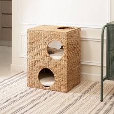 Vifah Liliana Hand-Woven Water Hyacinth <b>Cat House With Cushion</b> ...