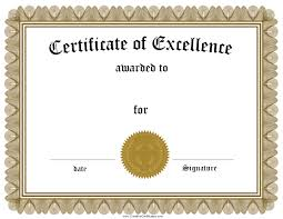 certificate of achievement certificate of excellence