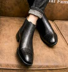 Mens Carved <b>Pointy Toe Brogue</b> Slip on Business Real Leather ...