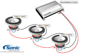 subwoofer wiring diagrams sonic electronix three dual 4 ohm subs 2 7 ohm mono see diagram