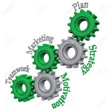 gears text teamwork marketing motivation strategy and gears text teamwork marketing motivation strategy and plan white background stock photo