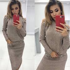 <b>2019 Bleading Sweater Women</b> Suits Fashion Shoulder Off Sleeve ...