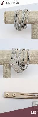 Sheng Tong Suede & <b>Rhinestone Boho Wrap Bracelet</b> Taupe color ...