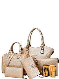 Buy <b>6 Pcs Women's Bags Set</b> Vogue Solid Color Fashion All Match ...
