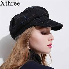 Xthree <b>winter</b> women's <b>hat</b> wool <b>octagonal hat</b> with visor fashion ...