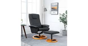 <b>Swivel TV Armchair with</b> Foot Stool Black Faux Leather - Matt Blatt