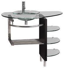 bathroom tempered glass shelf: quot wall mount clear tempered glass vessel vanity sink glass shelf contemporary bathroom